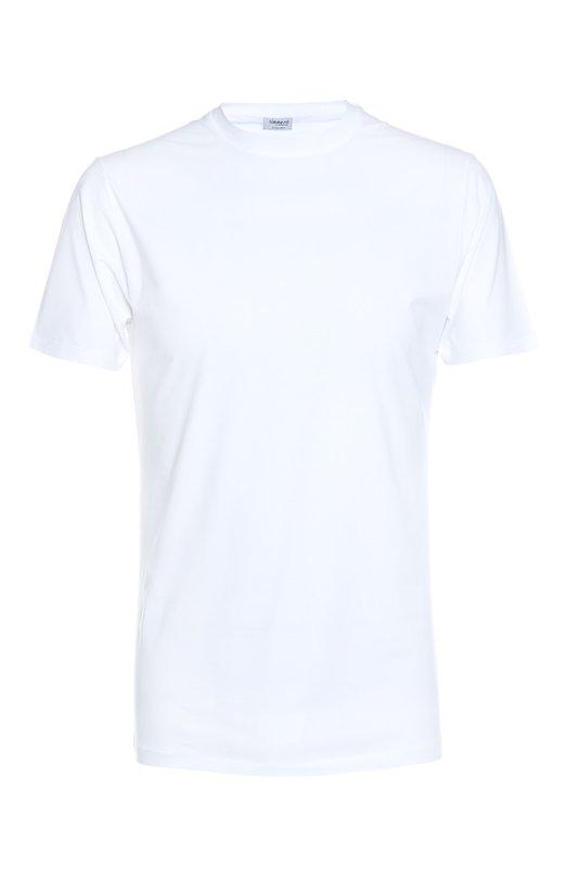 Футболка ZimmerliФутболки<br>Трикотажная футболка с круглым вырезом и короткими рукавами сшита вручную из мягкого, приятного на ощупь стрейчевого хлопка. Модель белого цвета вошла в базовую коллекцию марки, основанной Паулиной Циммерли-Берлин.<br><br>Российский размер RU: 48<br>Пол: Мужской<br>Возраст: Взрослый<br>Размер производителя vendor: M<br>Материал: Хлопок: 92%; Эластан: 8%; Лайкра: 8%;<br>Цвет: Белый