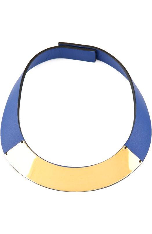 Колье MarniКолье<br>Мастера бренда выполнили широкое колье вручную из мягкой матовой кожи ярко-синего цвета. Аксессуар дополнен полукруглой металлической пластиной из полированного металла. Модель застегивается на две металлические кнопки сзади.<br><br>Пол: Женский<br>Возраст: Взрослый<br>Размер производителя vendor: NS<br>Материал: Кожа натуральная; Недрагоценный металл;<br>Цвет: Белый