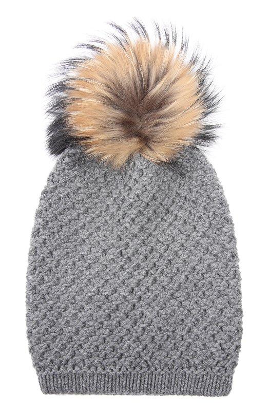 Вязаная шапка из смеси шерсти и кашемира с меховым помпоном Inverni 1600CM
