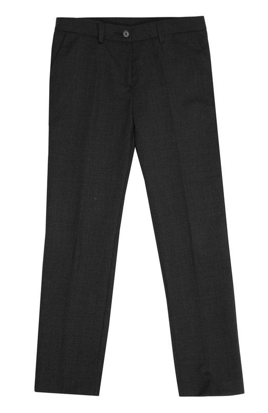 Брюки Dal LagoБрюки<br>Классические зауженные брюки произведены мастерами бренда, основанного Джорджио Даль Лаго, из тонкой овечьей шерсти темно-серого цвета. Наши стилисты рекомендуют сочетать с рубашкой и школьным жакетом.<br><br>Размер Years: 9<br>Пол: Женский<br>Возраст: Детский<br>Размер производителя vendor: 134-140cm<br>Материал: Шерсть овечья: 100%; Подкладка-полиэстер: 100%;<br>Цвет: Темно-серый