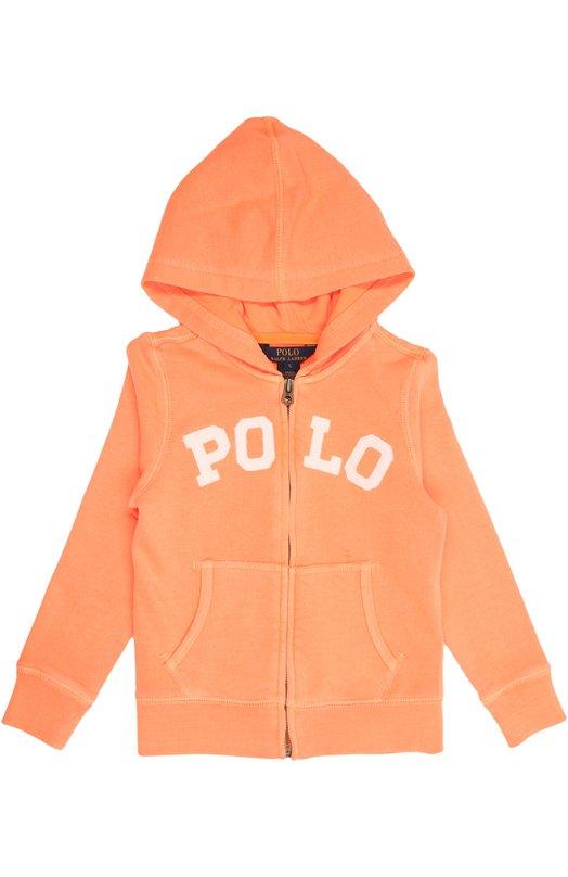 Кардиган спортивный Polo Ralph LaurenСпорт<br>В осенне-зимнюю коллекцию 2015 года вошла олимпийка из мягкого хлопка оранжевого цвета. Модель с капюшоном и длинными рукавам украшена аппликацией с названием бренда, основанного Ральфом Лореном. Изделие застегивается на молнию.<br><br>Размер Years: 7<br>Пол: Женский<br>Возраст: Детский<br>Размер производителя vendor: 122-128cm<br>Материал: Хлопок: 65%; Полиэстер: 35%;<br>Цвет: Оранжевый