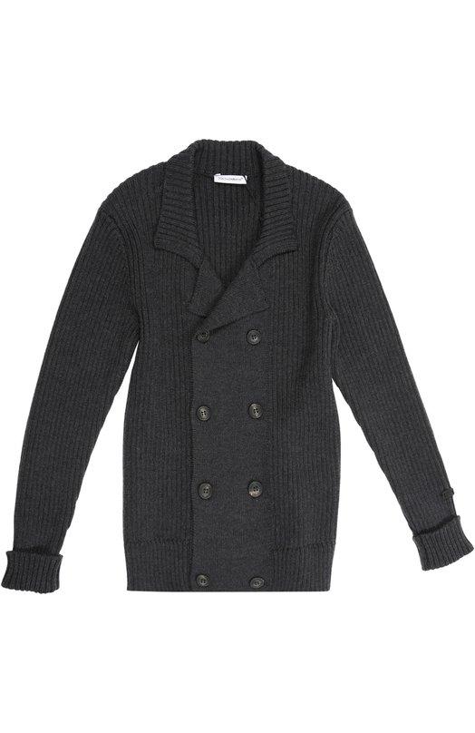Кардиган Dolce &amp; GabbanaКардиганы<br>Доменико Дольче и Стеффано Габбана включили темно-серый вязаный кардиган с отложным воротником в осенне-зимнюю коллекцию 2015 года. Двубортная модель с длинными рукавами произведена из мягкой плотной шерсти.<br><br>Размер Years: 10<br>Пол: Мужской<br>Возраст: Детский<br>Размер производителя vendor: 140-146cm<br>Материал: Шерсть: 100%;<br>Цвет: Темно-серый