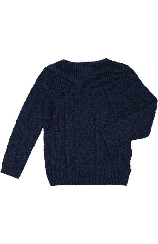 Пуловер вязаный BurberryСвитеры<br>Темно-синий пуловер с рельефным ирландским узором вошел в коллекцию сезона осень-зима 2015 года. Модель с круглым вырезом и длинными рукавами создана мастерами бренда, основанного Томасом Берберри, из мягкого шерстяного трикотажа.<br><br>Размер Years: 10<br>Пол: Мужской<br>Возраст: Детский<br>Размер производителя vendor: 140-146cm<br>Материал: Шерсть: 54%; Кашемир: 26%; Хлопок: 20%;<br>Цвет: Темно-синий