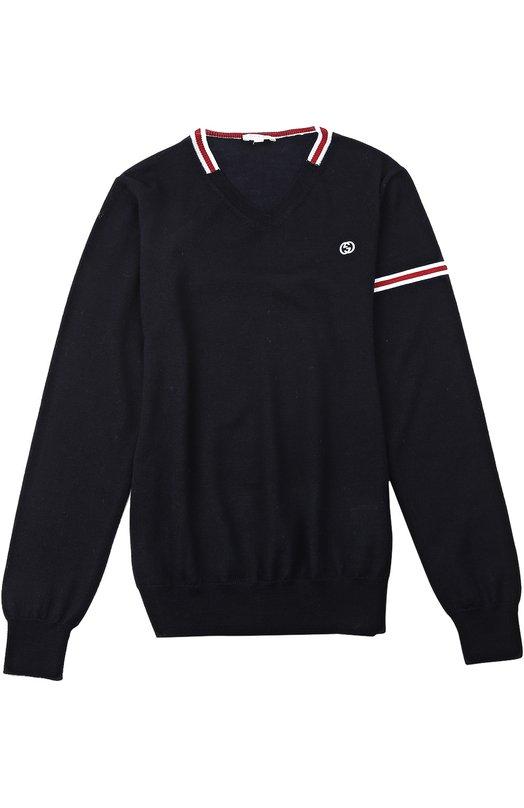 Пуловер GucciСвитеры<br>Темно-синий пуловер с V-образным вырезом и длинными рукавами из осенне-зимней коллекции 2015 года украшен красной и белой полосами. Мастера бренда, основанного Гуччи Гуччи, произвели модель из мягкой тонкой шерсти.<br><br>Российский размер RU: 40<br>Пол: Мужской<br>Возраст: Детский<br>Размер производителя vendor: 12<br>Материал: Шерсть: 100%;<br>Цвет: Синий