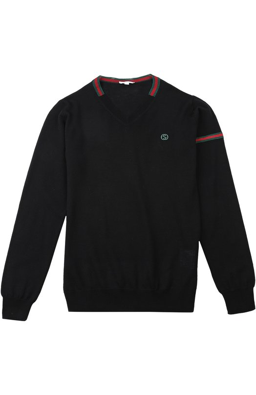 Пуловер GucciСвитеры<br>Алессандро Микеле включил черный пуловер с контрастными белыми и красными полосами в коллекцию сезона осень-зима 2015 года. Мастера марки, основанной Гуччио Гуччи, изготовили модель с V-образным вырезом и длинными рукавами из мягкой тонкой шерсти.<br><br>Материал: Шерсть: 100%;<br>Российский размер RU: 38<br>Размер производителя vendor: 10<br>Цвет: Черный<br>Пол: Мужской<br>Возраст: Детский