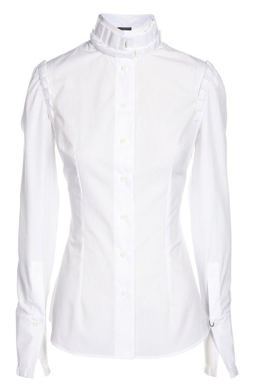 Блуза Alexander McQueenБлузы<br>Сара Бертон включила в коллекцию сезона осень-зима 2015 года приталенную белую блузу.  Воротник-стойка и основание рукава-фонарика украшены оторочкой из полосок ткани с односторонними складками. Модель застегивается на пуговицы.<br><br>Российский размер RU: 42<br>Пол: Женский<br>Возраст: Взрослый<br>Размер производителя vendor: 40<br>Материал: Хлопок: 100%;<br>Цвет: Белый