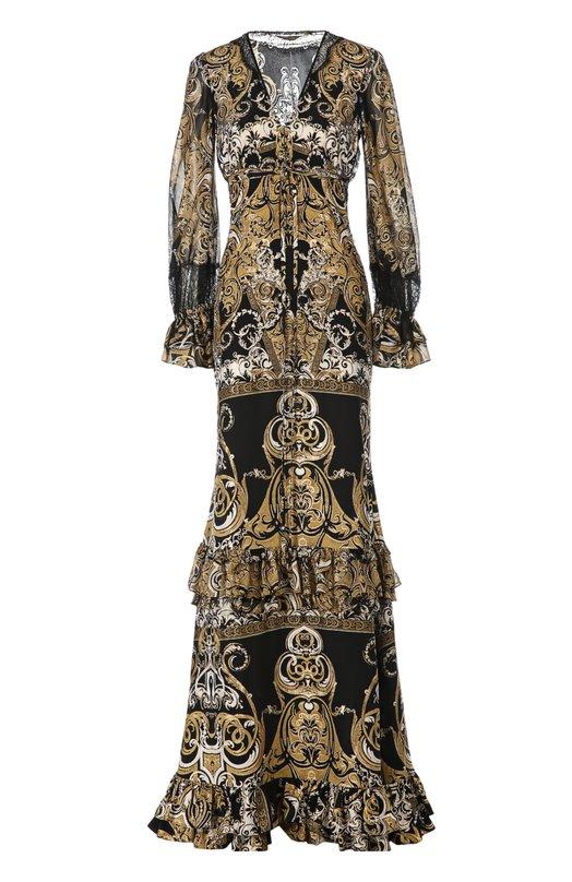 Вечернее платье Roberto CavalliПлатья<br>Роберто Кавалли включил вечернее платье с длинным рукавом в осенне-зимнюю коллекцию 2015 года. Модель с V-образным вырезом выполнена из тонкого шелка с орнаментальным принтом. Юбка, рукава и подол украшены оборками. Изделие застегивается на молнию сзади.<br><br>Российский размер RU: 40<br>Пол: Женский<br>Возраст: Взрослый<br>Размер производителя vendor: 38<br>Материал: Отделка-шелк: 95%; Отделка-полиамид: 5%; Шелк: 100%;<br>Цвет: Бронзовый