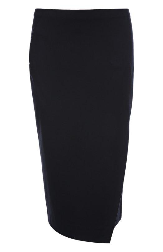Юбка Armani CollezioniЮбки<br>Джорджио Армани включил юбку-карандаш с запахом в осенне-зимнюю коллекцию 2015 года. Модель длиной до колена с посадкой на талии выполнена из темно-синей плотной ткани. Рекомендуем сочетать с приталенным жакетом, туфлями-лодочками и вместительной сумкой.<br><br>Российский размер RU: 46<br>Пол: Женский<br>Возраст: Взрослый<br>Размер производителя vendor: 44<br>Материал: Вискоза: 69%; Эластан: 3%; Полиамид: 28%;<br>Цвет: Темно-синий