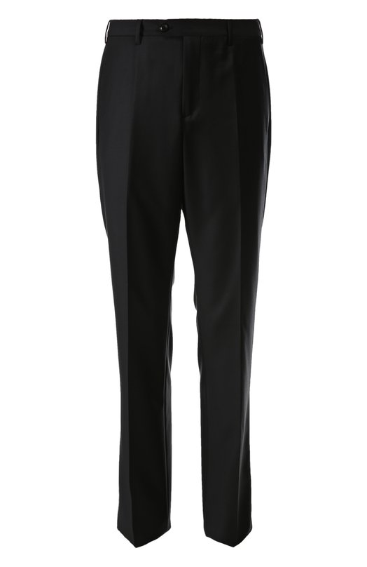 Брюки Giorgio ArmaniБрюки<br>Джорджио Армани включил брюки из мягкой черной шерсти в коллекцию сезона осень-зима 2015 года. Модель прямого кроя, со стрелками застегивается на молнию и пуговицу. Попробуйте носить с белой рубашкой, короткой курткой и черными дерби.<br><br>Российский размер RU: 50<br>Пол: Мужской<br>Возраст: Взрослый<br>Размер производителя vendor: 48<br>Материал: Шерсть овечья: 90%; Подкладка-ацетат: 60%; Подкладка-купра: 40%; Кашемир: 10%;<br>Цвет: Черный