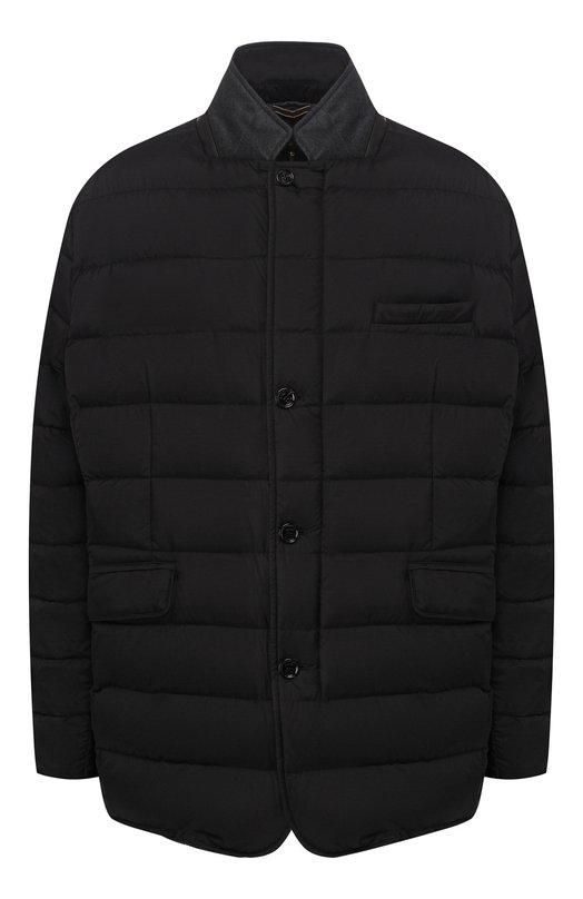 Куртка MoorerКуртки<br>В осенне-зимнюю коллекцию 2015 года вошла стеганая куртка с двумя боковыми и одним нагрудным карманом. Утепленная модель из водоотталкивающего нейлона застегивается на молнию и пуговицы. Мы предлагаем носить с поло, шерстяными брюками и кроссовками.<br><br>Российский размер RU: 48<br>Пол: Мужской<br>Возраст: Взрослый<br>Размер производителя vendor: 46<br>Материал: Отделка-шерсть овечья: 94%; Отделка-кашемир: 6%; Полиамид: 100%; Подкладка-полиамид: 100%; Пух: 100%;<br>Цвет: Черный