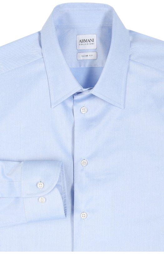 Сорочка Armani CollezioniРубашки<br>Джорджио Армани включил в коллекцию сезона осень-зима 2015 года элегантную сорочку slim fit с длинными рукавами и воротником кент. Модель сшита из голубого полированного твила стрейч с легким матовым блеском. Советуем носить с серым галстуком, темным костюмом и черными дерби.<br><br>Российский размер RU: 44<br>Пол: Мужской<br>Возраст: Взрослый<br>Размер производителя vendor: 44<br>Материал: Хлопок: 98%; Эластан: 2%;<br>Цвет: Голубой