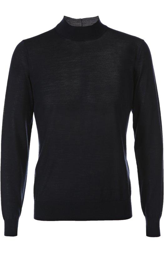 Пуловер Giorgio ArmaniСвитеры<br>В осенне-зимнюю коллекцию 2015 года Джорджио Армани включил тонкий синий джемпер с длинными рукавами и воротником стойкой. Модель прямого кроя выполнена из легкого шерстяного джерси. Нам нравится сочетать с темными джинсами, черной кожаной курткой и дерби в тон.<br><br>Российский размер RU: 60<br>Пол: Мужской<br>Возраст: Взрослый<br>Размер производителя vendor: 60<br>Материал: Шерсть: 100%;<br>Цвет: Синий