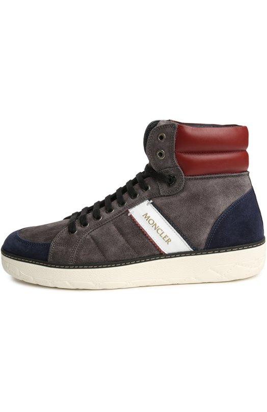 Кеды MonclerКеды<br>Ботинки с круглым мысом, на широкой белой подошве вошли в осенне-зимнюю коллекцию 2015 года. При изготовлении модели была использована комбинация из мягкой замши серого и темно-синего цвета. Обувь украшена декоративной строчкой и белой кожаной нашивкой с логотипом бренда.<br><br>Российский размер RU: 42<br>Пол: Мужской<br>Возраст: Взрослый<br>Размер производителя vendor: 42<br>Материал: Стелька-кожа: 100%; Подошва-резина: 100%; Отделка кожа натуральная: 100%; Замша натуральная: 100%;<br>Цвет: Серый