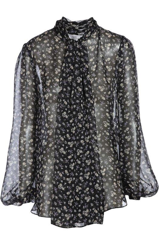 Блуза Alexander McQueenБлузы<br>Мастера бренда, основанного Александром Маккуином, сшили черную блузу из мягкого полупрозрачного шелкового шифона, дополнив цветочным принтом. Модель с длинными рукавами вошла в осенне-зимнюю коллекцию 2015 года. Нам нравится носить с мини-юбкой, пальто и ботфортами.<br><br>Российский размер RU: 40<br>Пол: Женский<br>Возраст: Взрослый<br>Размер производителя vendor: 38<br>Материал: Шелк: 100%;<br>Цвет: Черный