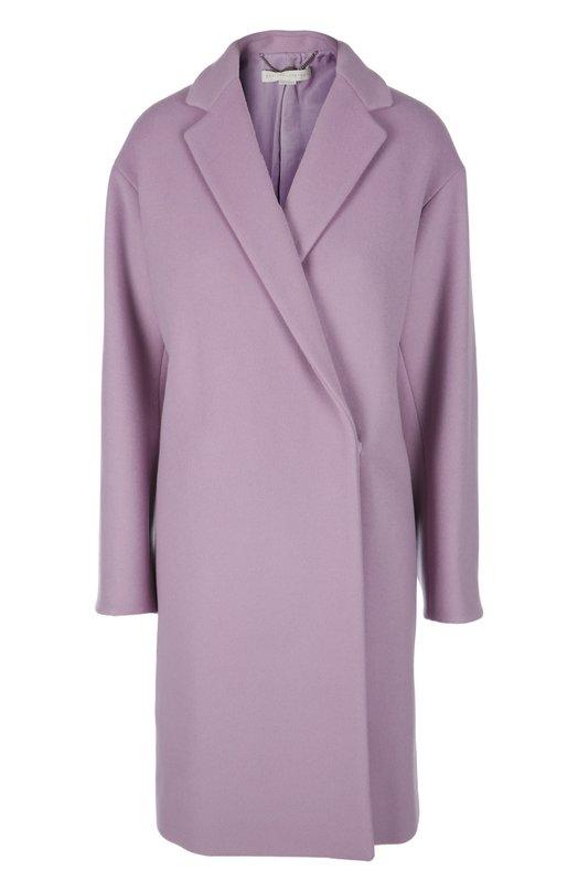 Пальто Stella McCartneyПальто и плащи<br>В осенне-зимнюю коллекцию бренда, основанного Стеллой Маккартни, вошло лиловое пальто на смещенной скрытой застежке-кнопке. Модель свободного кроя дополнена английским отложным воротником. Наши стилисты советуют сочетать с белым топом, джинсами skinny и туфлями с открытым мысом.<br><br>Российский размер RU: 42<br>Пол: Женский<br>Возраст: Взрослый<br>Размер производителя vendor: 40<br>Материал: Шерсть: 72%; Кашемир: 7%; Подкладка-хлопок: 50%; Подкладка-вискоза: 50%; Полиамид: 21%;<br>Цвет: Лиловый