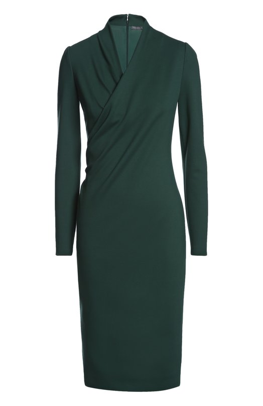 Платье джерси Alexander McQueenПлатья<br>В осенне-зимнюю коллекцию бренда, основанного Александром Маккуином, вошло элегантное платье-футляр с запахом. Модель с длинными рукавами и глубоким V-образным вырезом выполнена из эластичного вискозного джерси зеленого цвета. Попробуйте сочетать с черными босоножками на шпильке и клатчем в тон.<br><br>Российский размер RU: 48<br>Пол: Женский<br>Возраст: Взрослый<br>Размер производителя vendor: 46<br>Материал: Подкладка-полиамид: 75%; Вискоза: 70%; Спандекс: 5%; Полиамид: 25%; Подкладка-эластан: 25%;<br>Цвет: Зеленый