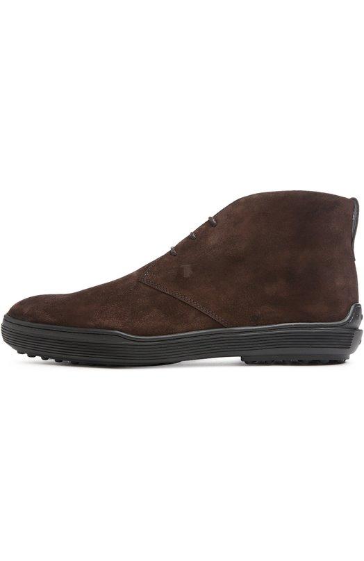 Замшевые ботинки GOMMA XF Tod'sБотинки<br>Высокие ботинки с круглым мысом сшиты из мягкой фактурной замши коричневого цвета. Тиснение с логотипом марки украшает боковую вставку. Широкая подошва из легкой пластичной резины дополнена круглыми шипами, характерными для обуви бренда<br><br>Российский размер RU: 43<br>Пол: Мужской<br>Возраст: Взрослый<br>Размер производителя vendor: 9-5<br>Материал: Стелька-кожа: 100%; Подошва-резина: 100%; Замша натуральная: 100%;<br>Цвет: Коричневый