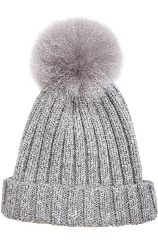 Вязаная шапка с меховым помпоном Nima C001/V0