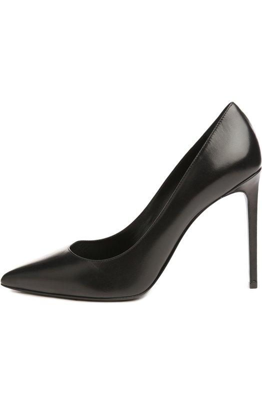 Кожаные туфли Paris Skinny на шпильке Saint LaurentТуфли<br>В классическую коллекцию бренда, основанного Ивом Сен-Лораном, вошли туфли-лодочки с зауженным мысом, глубоким вырезом, на тонком прямом каблуке. Мастера марки выполнили модель из гладкой кожи черного цвета.<br><br>Российский размер RU: 38<br>Пол: Женский<br>Возраст: Взрослый<br>Размер производителя vendor: 38-5<br>Материал: Кожа натуральная: 100%; Стелька-кожа: 100%; Подошва-кожа: 100%;<br>Цвет: Черный