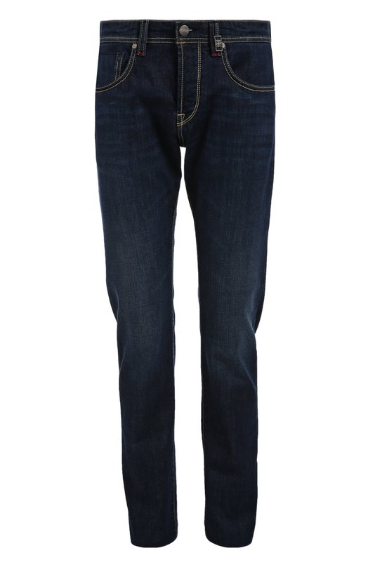 Джинсы Sartoria TramarossaДжинсы<br>Для ручного производства джинсов slim fit креативный директор бренда выбрал плотный синий хлопок стрейч. Модель вошла в коллекцию сезона осень-зима 2015 года. Попробуйте носить с синим свитером, коричневым блейзером и брогами.<br><br>Российский размер RU: 54<br>Пол: Мужской<br>Возраст: Взрослый<br>Размер производителя vendor: 36<br>Материал: Хлопок: 98%; Эластан: 2%;<br>Цвет: Синий