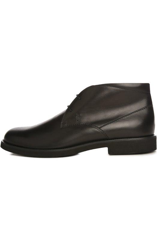 Кожаные ботинки Gomma Tod'sБотинки<br>Ботинки на шнуровке вошли в классическую коллекцию марки. Обувь с круглым мысом дополнена небольшим широким каблуком. Для производства обуви мастера бренда использовали гладкую кожу черного цвета.<br><br>Российский размер RU: 45<br>Пол: Мужской<br>Возраст: Взрослый<br>Размер производителя vendor: 11-5<br>Материал: Кожа натуральная: 100%; Стелька-кожа: 100%; Подошва-резина: 100%;<br>Цвет: Черный
