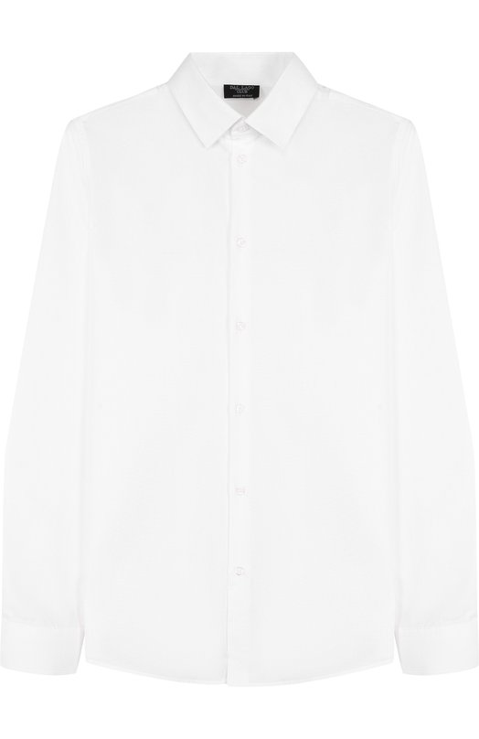 Хлопковая рубашка с воротником кент Dal LagoРубашки<br>Белая рубашка прямого кроя дополнен длинными рукавами и воротником кент. Белая модель изготовлена мастерами бренда, основанного Джорджио Даль Лаго, из мягкого хлопка. Наши стилисты советуют сочетать с брюками и школьным пиджаком.<br><br>Размер Years: 12<br>Пол: Мужской<br>Возраст: Детский<br>Размер производителя vendor: 146-152cm<br>Материал: Хлопок: 100%;<br>Цвет: Белый