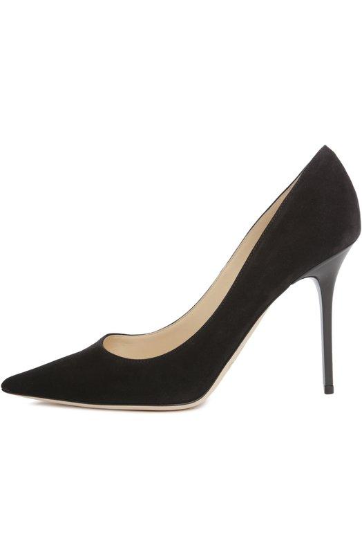 Замшевые туфли Abel Jimmy ChooТуфли<br>Сандра Чой, креативный директор бренда, основанного Джимми Чу, включила замшевые туфли-лодочки Abel из базовой линии 24/7 в осенне-зимнюю коллекцию 2015 года. Черная модель с зауженным мысом дополнена высоким каблуком, обтянутым матовой кожей.<br><br>Российский размер RU: 38<br>Пол: Женский<br>Возраст: Взрослый<br>Размер производителя vendor: 38-5<br>Материал: Стелька-кожа: 100%; Подошва-кожа: 100%; Замша натуральная: 100%;<br>Цвет: Черный
