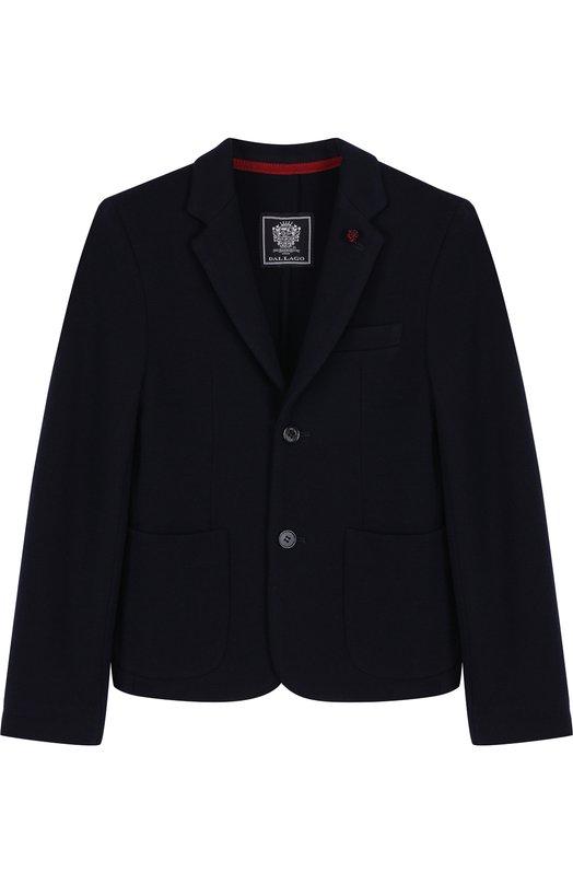 Пиджак Dal LagoПиджаки<br>Темно-синий пиджак, застегивающийся на две пуговицы, дополнен двумя накладными карманами. Мастера бренда сшили изделие из мягкой плотной шерсти. Рекомендуем сочетать со светлой рубашкой и школьными брюками.<br><br>Размер Years: 11<br>Пол: Мужской<br>Возраст: Детский<br>Размер производителя vendor: 146cm<br>Материал: Шерсть: 100%;<br>Цвет: Синий