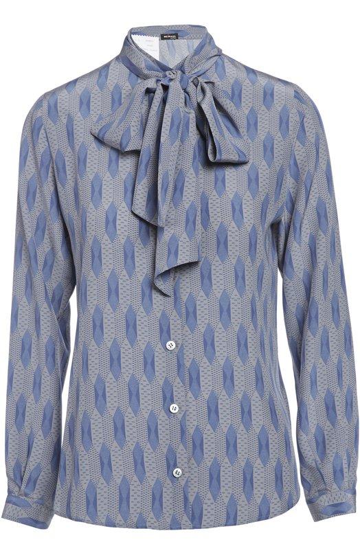 Блуза KitonБлузы<br>Легкая шелковая блуза голубого цвета c геометричным принтом вошла в коллекцию сезона осень-зима 2015 года. Приталенная модель с длинными рукавами и воротником аскот застегивается на пуговицы. Нам нравится сочетать с классическим костюмом и туфлями-лодочками на каблуке.<br><br>Российский размер RU: 44<br>Пол: Женский<br>Возраст: Взрослый<br>Размер производителя vendor: 42<br>Материал: Шелк: 100%;<br>Цвет: Голубой
