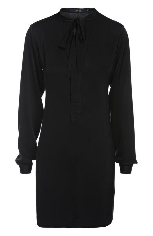 Платье Polo Ralph LaurenПлатья<br>Ральф Лорен включил в коллекцию сезона осень-зима 2015 года черное прямое мини-платье. Модель дополнена лентой на горловине. Наши стилисты рекомендуют сочетать с приталенным пальто, вместительной сумкой и сапогами.<br><br>Российский размер RU: 42<br>Пол: Женский<br>Возраст: Взрослый<br>Размер производителя vendor: 4<br>Материал: Триацетат: 80%; Полиэстер: 20%;<br>Цвет: Черный