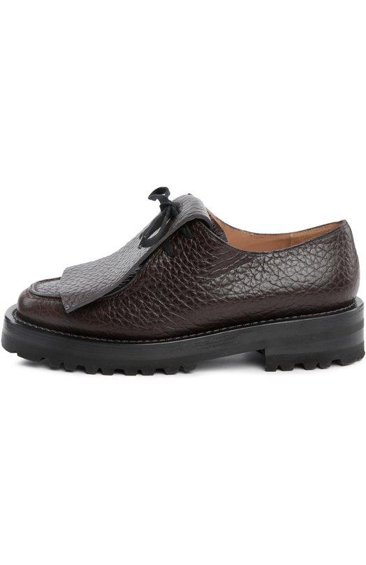 Кожаные ботинки с декоративным килтом MarniБотинки<br>Консуэло Кастильони включила в осенне-зимнюю коллекцию 2015 года ботинки на толстой подошве, с квадратным каблуком и круглым мысом. Модель из тисненой матовой кожи темно-коричневого цвета фиксируется шнуровкой, скрытой под декоративным кожаным килтом.<br><br>Российский размер RU: 37<br>Пол: Женский<br>Возраст: Взрослый<br>Размер производителя vendor: 37-5<br>Материал: Кожа натуральная: 100%; Стелька-кожа: 100%; Подошва-резина: 100%;<br>Цвет: Темно-коричневый