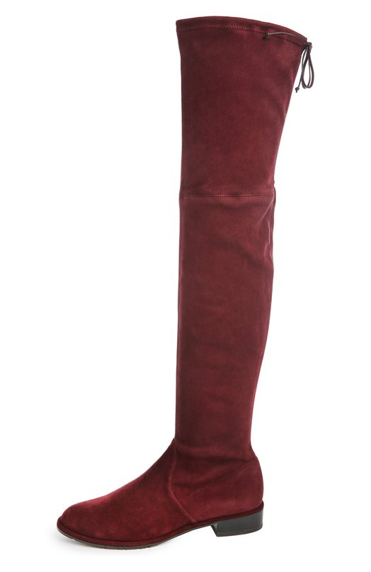 Замшевые ботфорты Lowland Stuart WeitzmanСапоги<br>В классическую коллекцию бренда, основанного Стюартом Вайцманом, вошли замшевые ботфорты Lowland бордового цвета. Модель с зауженным мысом, на невысоком квадратном каблуке фиксируется сверху на кожаный шнурок, продетый в кулиску.<br><br>Российский размер RU: 39<br>Пол: Женский<br>Возраст: Взрослый<br>Размер производителя vendor: 39-5<br>Материал: Стелька-кожа: 100%; Подошва-резина: 100%; Замша натуральная: 100%;<br>Цвет: Бордовый