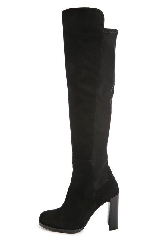 Замшевые сапоги Hijack на устойчивом каблуке Stuart WeitzmanСапоги<br>Высокие сапоги Hijack вошли в осенне-зимнюю коллекцию бренда, основанного Стюартом Вайцманом. Элегантная модель на высоком каблуке выполнена из мягкой черной замши. Сзади голенище дополнено эластичными вставками.<br><br>Российский размер RU: 40<br>Пол: Женский<br>Возраст: Взрослый<br>Размер производителя vendor: 40-5<br>Материал: Стелька-кожа: 100%; Подошва-резина: 100%; Замша натуральная: 100%; Текстиль: 100%;<br>Цвет: Черный