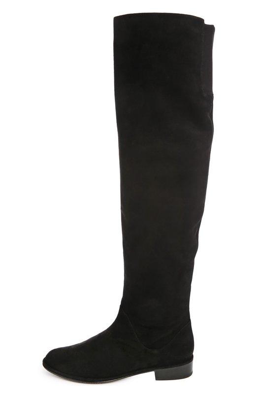Замшевые сапоги Rockerchiс на устойчивом каблуке Stuart WeitzmanСапоги<br>Высокие демисезонные сапоги Rockerchiс на низком устойчивом каблуке вошли в классическую коллекцию марки, основанной Стюартом Вайцманом. Модель изготовлена из тонкой черной замши. Для удобства голенище дополнено эластичной вставкой сзади.<br><br>Российский размер RU: 37<br>Пол: Женский<br>Возраст: Взрослый<br>Размер производителя vendor: 37-5<br>Материал: Стелька-кожа: 100%; Подошва-резина: 100%; Замша натуральная: 100%;<br>Цвет: Черный