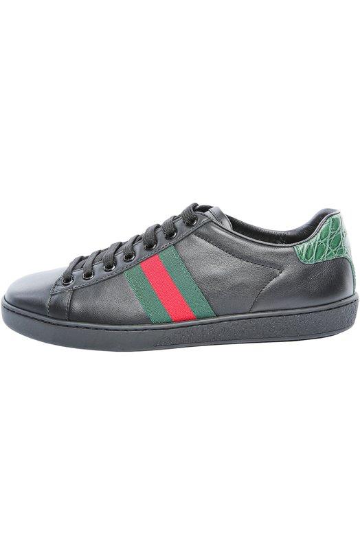 Купить Кеды New Ace с отделкой из крокодиловой кожи Gucci Италия 5004213 387993/A3830