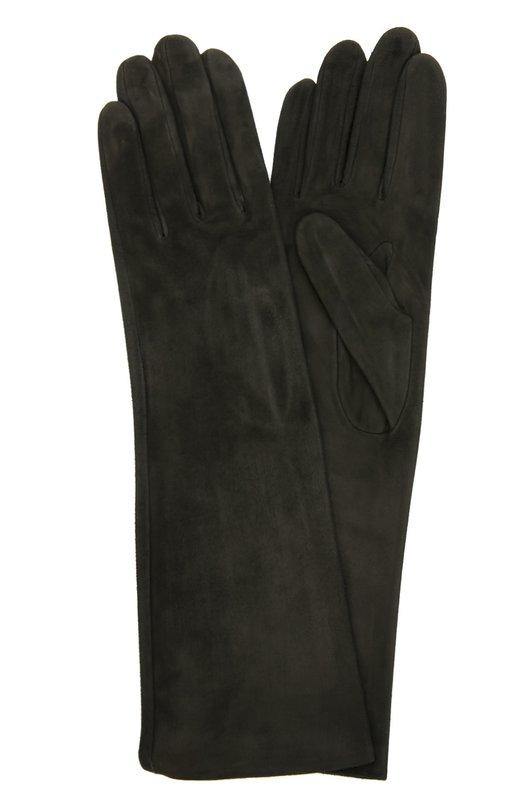 Удлиненные замшевые перчатки AgnelleПерчатки<br>Для изготовления длинных перчаток была использована мягкая и тонкая бархатистая замша черного цвета. Дизайнеры бренда включили аксессуар без застежек в классическую коллекцию марки, основанной Гантери Аньель.<br><br>Российский размер RU: 6<br>Пол: Женский<br>Возраст: Взрослый<br>Размер производителя vendor: 6-5<br>Материал: Подкладка-шелк: 100%; Замша натуральная: 100%;<br>Цвет: Черный