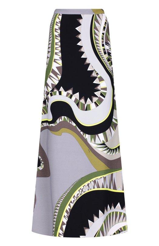 Вечерняя юбка Emilio PucciЮбки<br>Абстрактный принт украшает юбку в пол из стрейчевого крепа. Длинная вечерняя модель А-силуэта, с молнией сзади вошла в осенне-зимнюю коллекцию бренда, основанного Эмилио Пуччи. Нам нравится сочетать с черным топом, туфлями-лодочками, клатчем и массивным кулоном.<br><br>Российский размер RU: 42<br>Пол: Женский<br>Возраст: Взрослый<br>Размер производителя vendor: 40<br>Материал: Вискоза: 97%; Подкладка-шелк: 91%; Подкладка-эластан: 9%; Эластан: 3%;<br>Цвет: Зеленый