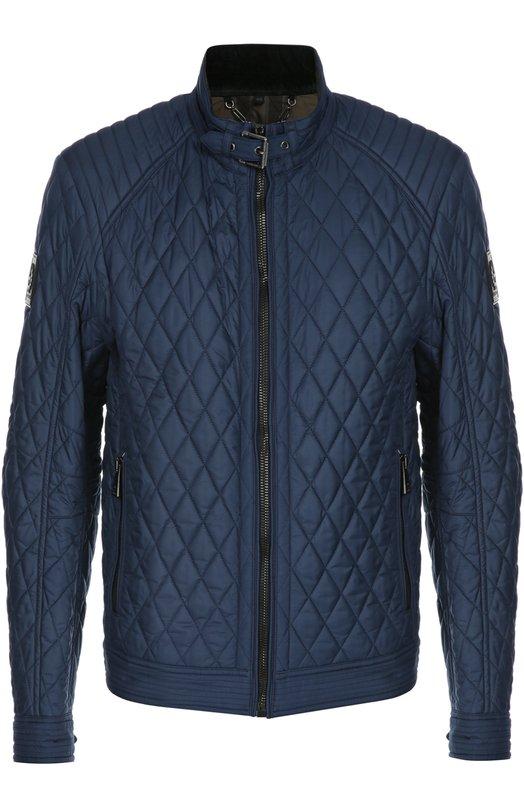 Куртка BelstaffКуртки<br>В осенне-зимнюю коллекцию 2015 года вошла синяя стеганая куртка Bramley, сшитая из прочной водоотталкивающей ткани. Модель застегивается на молнию. Воротник-стойка фиксируется на ремешок с металлической пряжкой. Ширину низа егулируют кнопки.<br><br>Российский размер RU: 58<br>Пол: Мужской<br>Возраст: Взрослый<br>Размер производителя vendor: 54<br>Материал: Полиэстер: 100%; Отделка кожа натуральная: 100%; Подкладка-хлопок: 100%;<br>Цвет: Синий