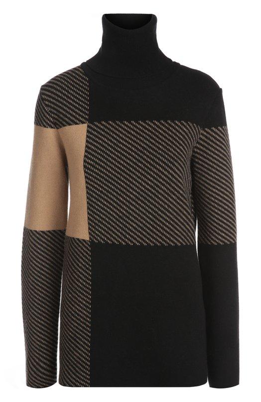 Вязаный свитер Chlo?Свитеры<br>Для изготовления удлиненного свитера свободного силуэта мастера использовали мягкий шерстяной трикотаж черного и бежевого цветов. Клэр Уэйт Келлер включила модель с высокой горловиной и длинными рукавами в осенне-зимнюю коллекцию 2015 года.<br><br>Российский размер RU: 40<br>Пол: Женский<br>Возраст: Взрослый<br>Размер производителя vendor: XS<br>Материал: Кашемир: 8%; Шерсть: 75%; Полиамид: 16%; Эластан: 1%;<br>Цвет: Черный