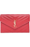 Сумка Monogram Envelope mini из стеганой кожи Saint Laurent красного цвета | Фото №1