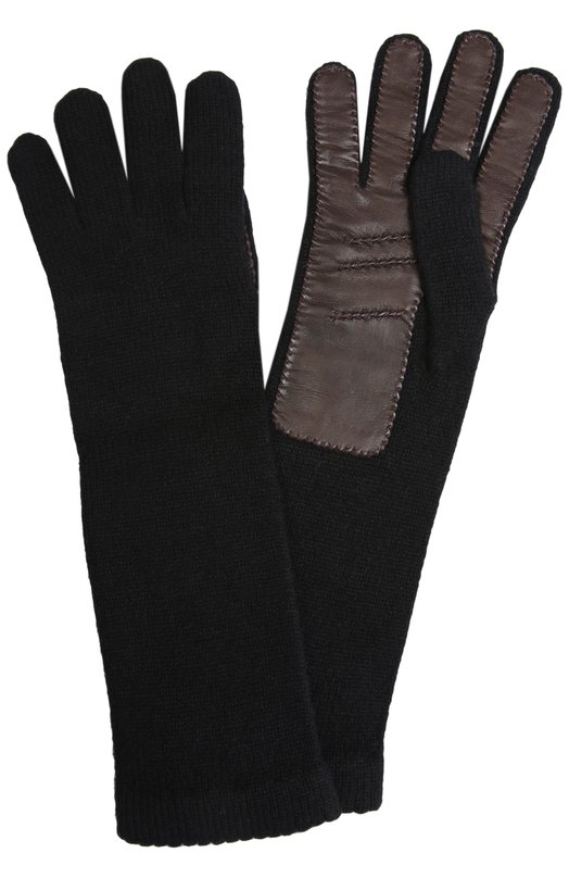 Трикотажные перчатки InverniПерчатки<br>При создании удлиненных трикотажных перчаток мастера марки использовали пряжу на основе гипоаллергенного кашемира черного цвета. С тыльной стороны изделие дополнено вставкой из мягкой темно-коричневой кожи.<br><br>Пол: Женский<br>Возраст: Взрослый<br>Размер производителя vendor: NS<br>Материал: Кашемир: 100%; Отделка кожа натуральная: 100%;<br>Цвет: Черный