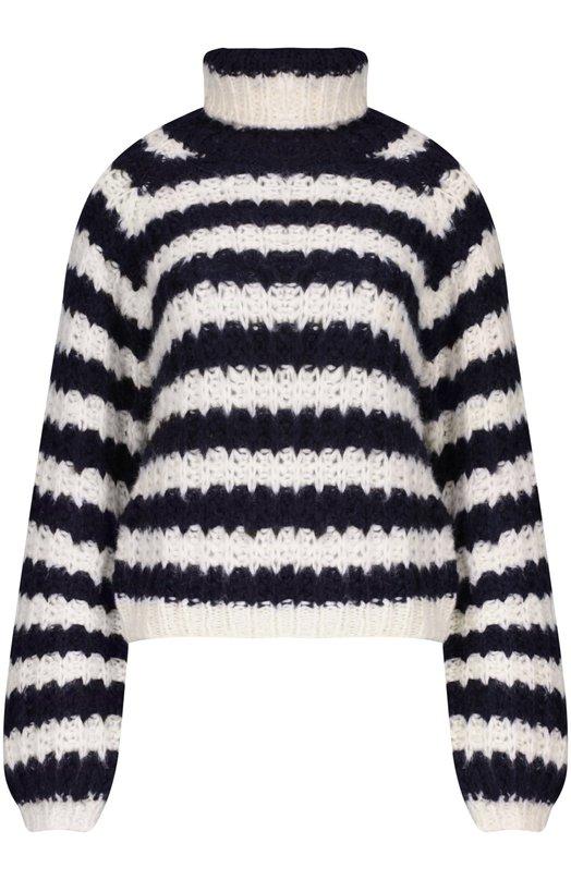 Вязаный свитер Chlo?Свитеры<br>Клэр Уэйт Келлер включила в осенне-зимнюю коллекцию 2015 года свитер с длинным рукавом. Полосатая черно-белая объемная модель с высоким воротником связана крупной английской резинкой из мягкой шерстяной пряжи. Советуем сочетать с укороченными джинсами и туфлями-лодочками на устойчивом каблуке.<br><br>Российский размер RU: 40<br>Пол: Женский<br>Возраст: Взрослый<br>Размер производителя vendor: XS<br>Материал: Шелк: 50%; Мохер: 40%; Шерсть: 10%;<br>Цвет: Черно-белый