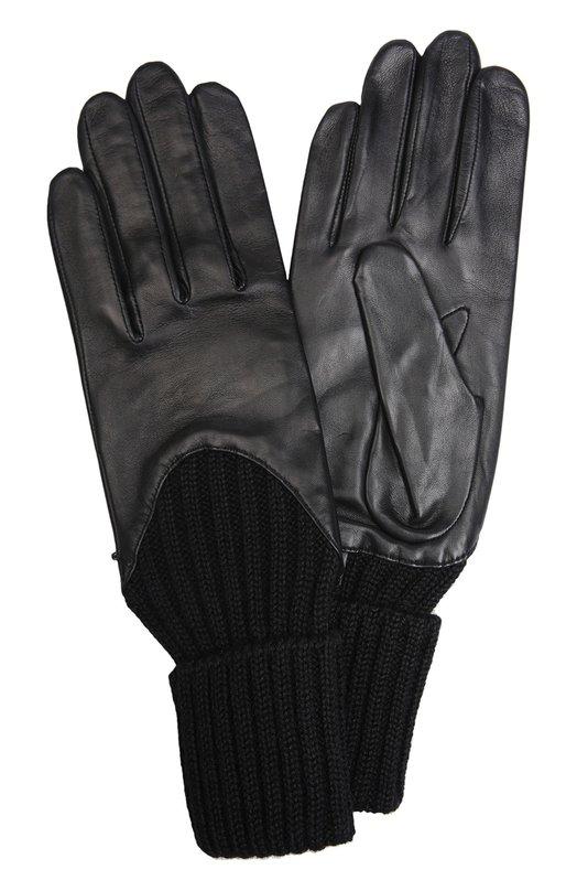 Кожаные перчатки AgnelleПерчатки<br><br><br>Российский размер RU: 7<br>Пол: Женский<br>Возраст: Взрослый<br>Размер производителя vendor: 7-5<br>Материал: Подкладка-шелк: 100%; Кожа натуральная: 100%; Шерсть альпака: 100%;<br>Цвет: Черный