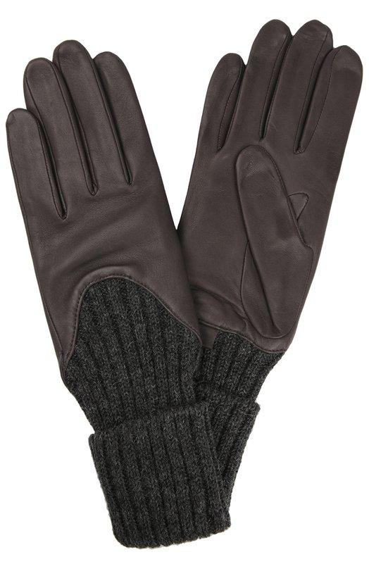 Кожаные перчатки AgnelleПерчатки<br><br><br>Российский размер RU: 6<br>Пол: Женский<br>Возраст: Взрослый<br>Размер производителя vendor: 6<br>Материал: Подкладка-шелк: 100%; Кожа натуральная: 100%; Шерсть альпака: 100%;<br>Цвет: Темно-серый