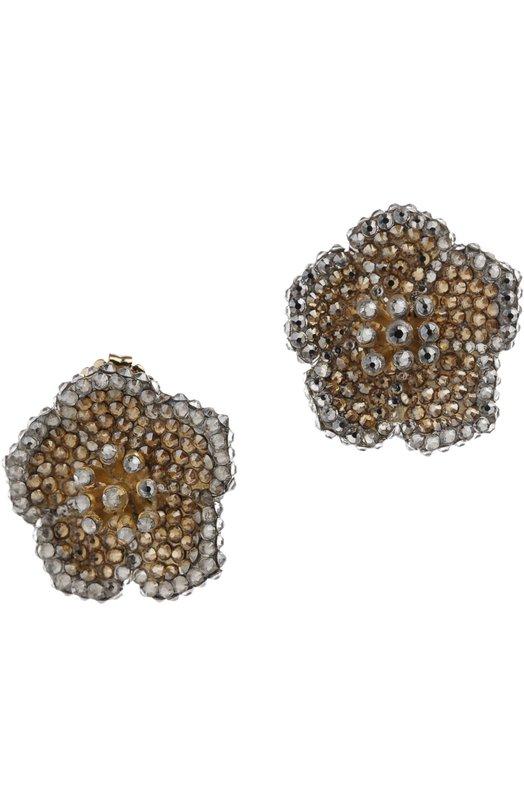 Серьги Roni BlanshayСерьги<br>Для создания серег-пусет Рони Бланшай использовала кристаллы Swarovski двух цветов: золотистого и серебристого. Основа аксессуара в виде цветка произведена мастерами бренда из полированного металла.<br><br>Пол: Женский<br>Возраст: Взрослый<br>Размер производителя vendor: NS<br>Материал: Стекло; Кристаллы Сваровски; Недрагоценный металл; Эмаль;<br>Цвет: Золотой