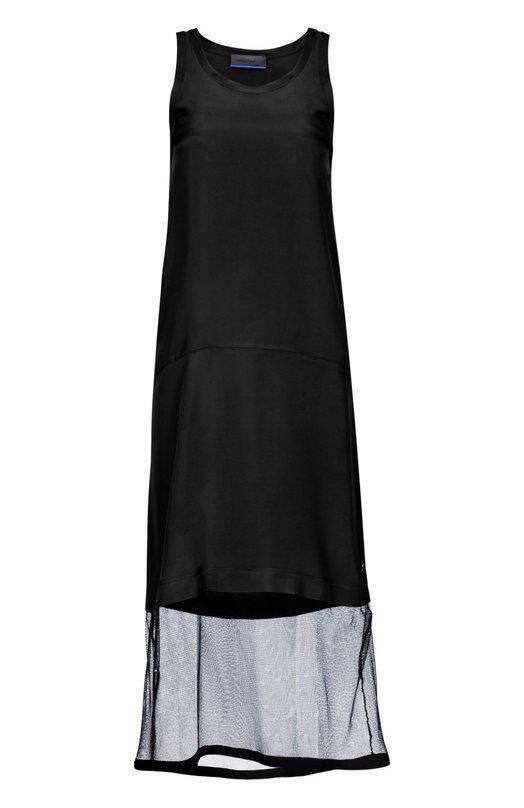 Платье OttodameПлатья<br>В осенне-зимнюю коллекцию 2015 года вошло черное текстильное платье прямого кроя, без рукавов. Подол дополнен вставкой из сетчатого акрила. Рекомендуем сочетать с черными ботильонами, объемным кардиганом и вместительным клатчем.<br><br>Российский размер RU: 46<br>Пол: Женский<br>Возраст: Взрослый<br>Размер производителя vendor: 44<br>Материал: Вискоза: 100%; Полиамид: 100%;<br>Цвет: Черный