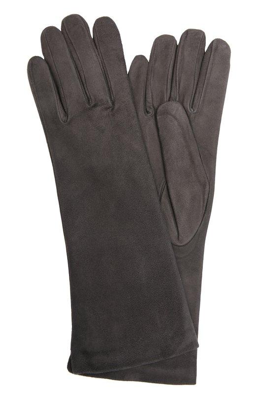 Перчатки Sermoneta GlovesПерчатки<br>Мастера бренда, основанного Джорджио Сермонета, использовали для производства перчаток мягкую бархатистую замшу темно-серого цвета. Элегантный аксессуар средней длины вошел в классическую коллекцию марки.<br><br>Российский размер RU: 8<br>Пол: Женский<br>Возраст: Взрослый<br>Размер производителя vendor: 8<br>Материал: Замша натуральная: 100%; Подкладка-кашемир: 100%;<br>Цвет: Темно-серый