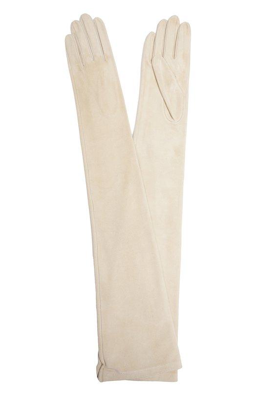 Перчатки Sermoneta GlovesПерчатки<br>Длинные перчатки сшиты мастерами бренда, основанного Джорджио Сермонета, вручную. Для производства аксессуара была использована тонкая мягкая замша бежевого цвета. Модель вошла в классическую коллекцию.<br><br>Российский размер RU: 6<br>Пол: Женский<br>Возраст: Взрослый<br>Размер производителя vendor: 6-5<br>Материал: Подкладка-шелк: 100%; Замша натуральная: 100%;<br>Цвет: Светло-бежевый