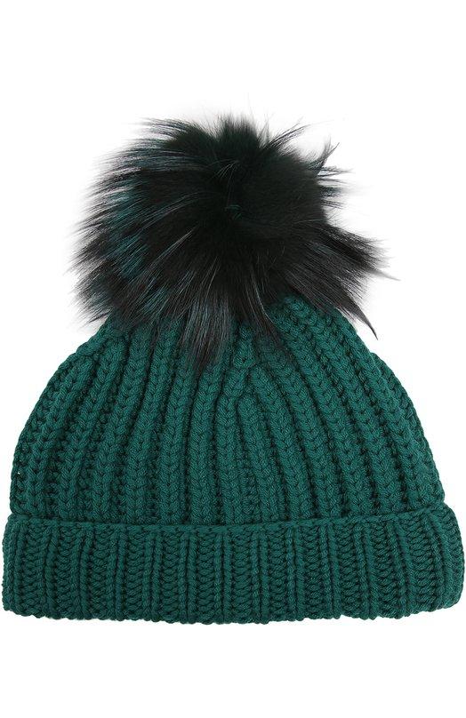 Кашемировая шапка с помпоном из меха лисы Dolce & Gabbana 0136/FMH12K/F51AA