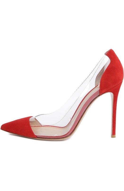 Замшевые туфли Plexi на шпильке Gianvito RossiТуфли<br>Элегантные туфли Plexi на высокой шпильке сшиты из красной бархатистой замши. На создание модели Джанвито Росси вдохновили туфли Золушки. Вместо хрусталя дизайнер использовал прозрачный плексиглас, из которого созданы боковые вставки. Этот материал и дал название линии.<br><br>Российский размер RU: 41<br>Пол: Женский<br>Возраст: Взрослый<br>Размер производителя vendor: 41-5<br>Материал: Замша натуральная: 60%; Пластмасса: 40%; Стелька-кожа: 100%; Подошва-кожа: 100%;<br>Цвет: Красный